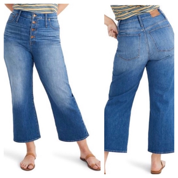 Madewell Denim - (NWT) Madewell Slim Wide-Leg High Rise Crop Jeans
